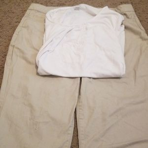 A JMS shirt and a pair of Riders capris.